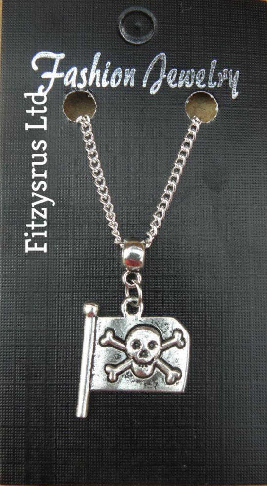 "18"" 24"" Inch Necklace & Jolly Roger Flag Pendant Charm Pirate Skull & Crossbones"